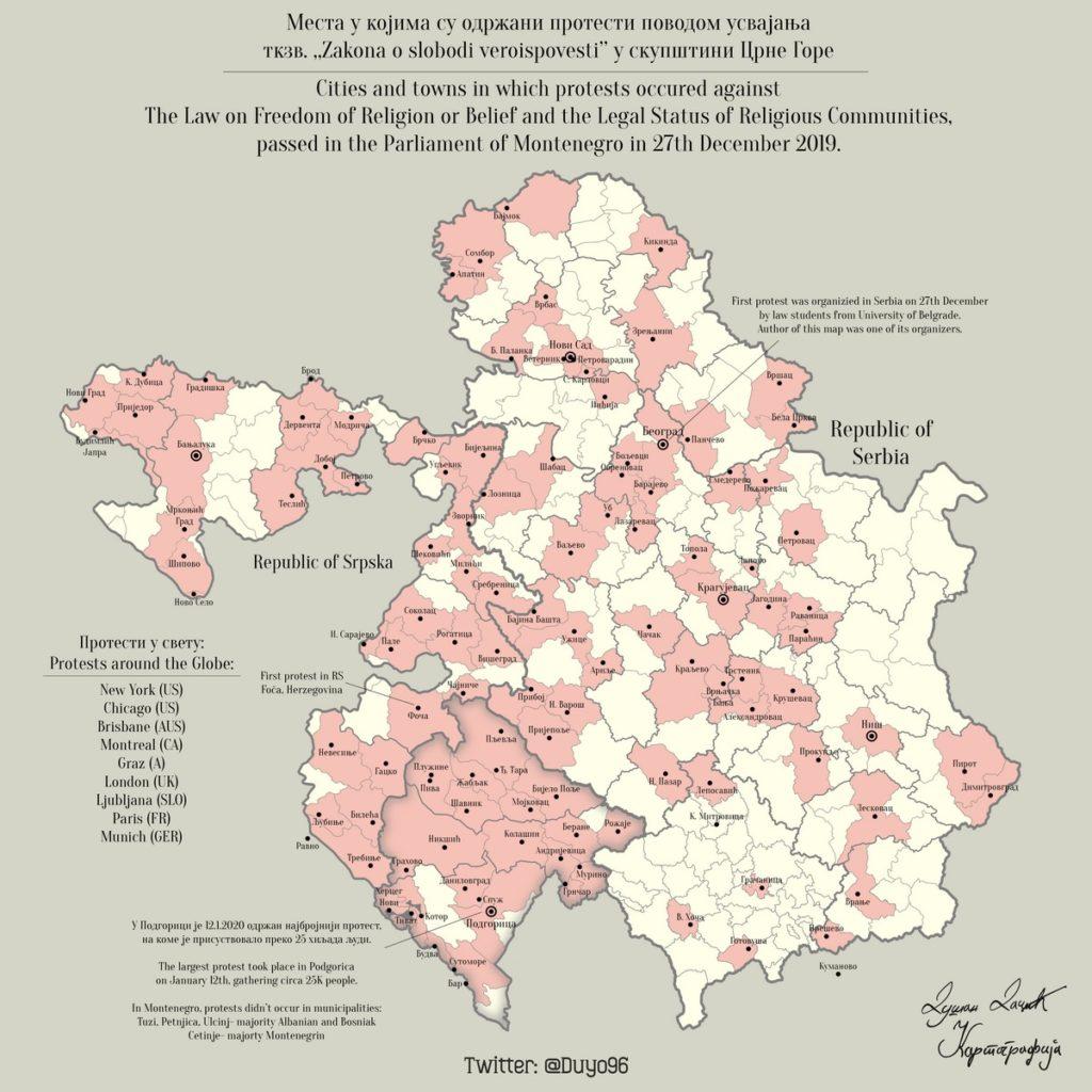 Karta Protesta U Crnoj Gori Republici Srpskoj Srbiji I S